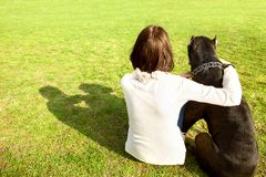 Girl in the park sits with her big dog Cane Corso, rear view. Girl in the park sits with her big dog Cane Corso, rear view Stock Images