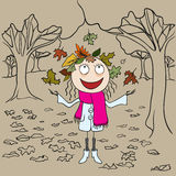 Girl in park throws autumn leaves. Autumn landscape Royalty Free Stock Photo