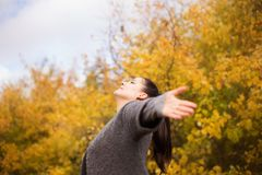 Girl in the park throws leaves Stock Photography