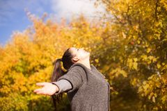 Girl in the park throws leaves Stock Image