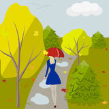 Girl in park. The girl with an umbrella walks in autumn park, vector illustration Royalty Free Stock Photo