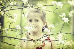 Girl in the park-vintage photo Royalty Free Stock Photo
