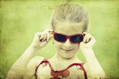 Girl in the park-vintage photo Royalty Free Stock Images
