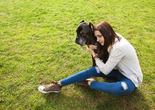 Girl in the park walking with their big dog Cane Corso Royalty Free Stock Images