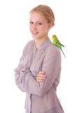 Girl with parrot. Young girl with a parrot - isolated on white background stock photos