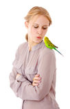 Girl with parrot. Young girl with a parrot - isolated on white background stock images