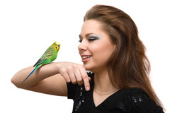 The girl with a parrot Stock Image