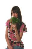 Girl with a parsley and fenne. L on a white background Royalty Free Stock Image
