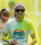 Girl participating in the Color Run in Prague Royalty Free Stock Photos