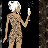 Girl in the party. Attractive blond girl in the party with glass of champane vector illustration