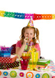 Girl with party blower Stock Photo