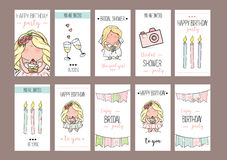 Girl party invitation or congratulation cards royalty free illustration