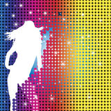 Girl Party Silhouette. Grunge Background with Party Girl Silhouette with Stars and Dots Royalty Free Stock Photo
