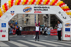 Girl passage finish line Royalty Free Stock Photography