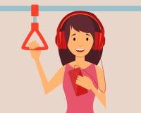 Girl passenger listening  music Stock Images