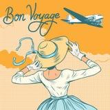 Girl passenger plane Bon voyage royalty free illustration