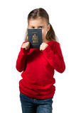 Girl with Passport Royalty Free Stock Photo