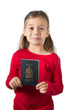 Girl with Passport Stock Images