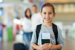 Girl passport boarding pass Royalty Free Stock Photos