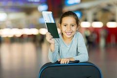 Girl passport boarding pass Stock Images