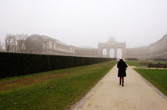 Girl on path in Brussels royalty free stock photography