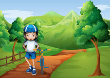 A girl at the pathway going to the hilltop. Illustration of a girl at the pathway going to the hilltop Stock Photos