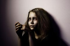Girl patient of mental home. Possessed by a satan Royalty Free Stock Photo