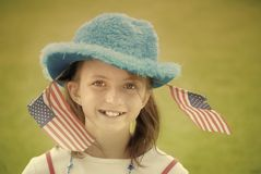 Girl Patriotic Flags Instagram Style Stock Photo