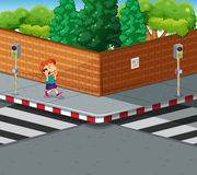 Girl on the pavement talking on the phone. Illustration Royalty Free Stock Image
