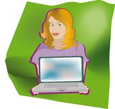 Girl with pc Royalty Free Stock Photography