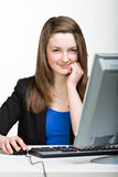 Girl with pc Stock Photo