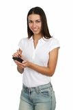 Girl With PDA royalty free stock photography
