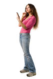 Girl with PDA Stock Images