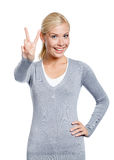 Girl peace gesturing Stock Photography