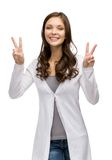 Girl peace gesturing Stock Images