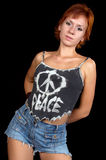 Girl with peace t-shirt Royalty Free Stock Image