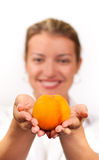 Girl with peach Royalty Free Stock Image