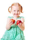 Girl with peach isolated on white. Background Royalty Free Stock Photos