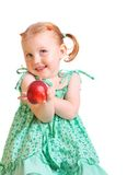 Girl with peach isolated on white Stock Photos