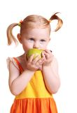 Girl with pear Royalty Free Stock Photo