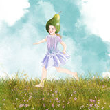 Girl with pear hat Royalty Free Stock Photo