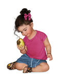Girl and pear Royalty Free Stock Photos