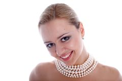 Girl with pearl Royalty Free Stock Photos