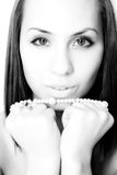 Girl with pearl bead Royalty Free Stock Images