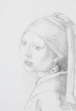 Girl with pearl earring, pencil drawing Stock Photos