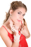 Girl with pearls Stock Images