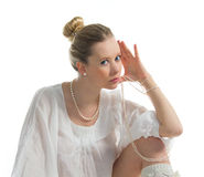 Girl with pearls Royalty Free Stock Images