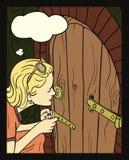Girl Peeking At A Small Door Stock Photos
