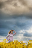 The girl peers afar Royalty Free Stock Photos