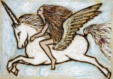 Girl with Pegasus. Painting of girl flying with pegasus burned into wood with oil pastel Stock Photography